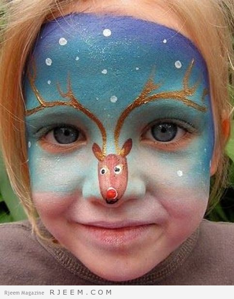 What a fantastic idea for a kid's face painting! Children will adore running around at Christmas with Rudolph on their nose. How cute is this? Wish I had a little grand baby to paint this on. c: