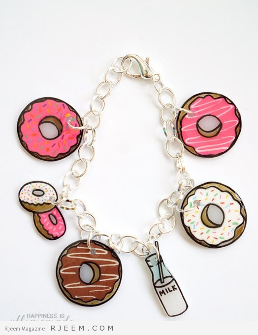 Shrinky Dink Donut Charm Bracelet - Great DIY Gift Idea