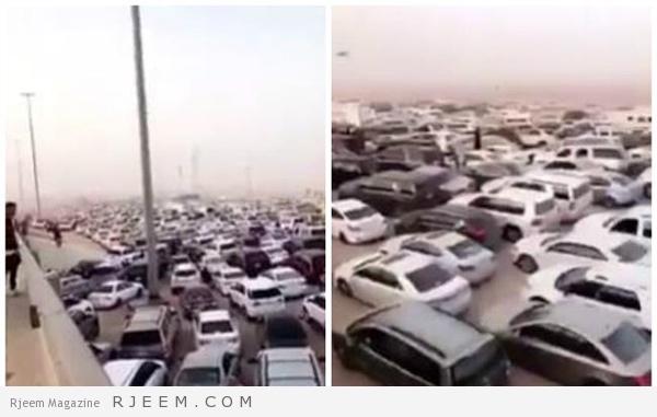 Photo of شاهد: فيديو مذهل يوضح نسبة زحام السيارات المتوجهه نحو الجنادرية