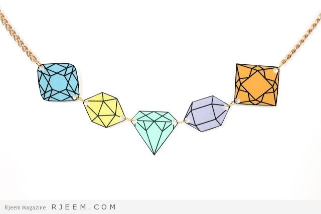 diy shrinky dink diamond and gem stone necklace tutorial