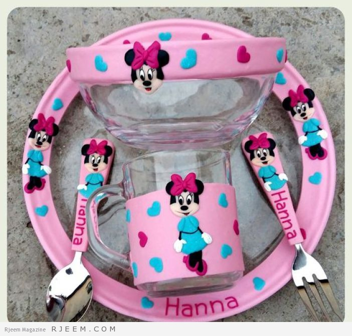 Facebook: Evőeszközök Egyedi Inda. Minny Mouse children plate mug and cutlery. Polymer clay: