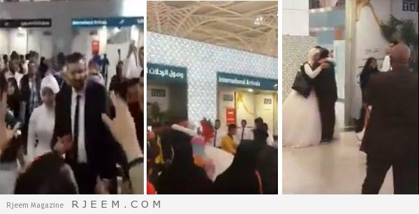 Photo of فيديو: زفة شعبية لعروس مصرية استقبلها عريسها في مطار المدينة المنورة