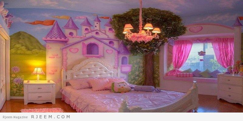 ديكورات غرف نوم بنات بألوان زاهية