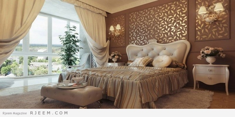 غرف نوم كلاسيك بورق حائط