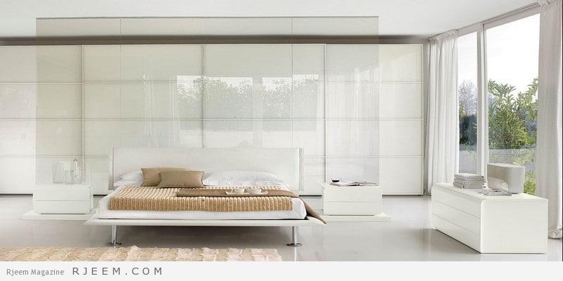 غرف نوم باللون الابيض حديثة