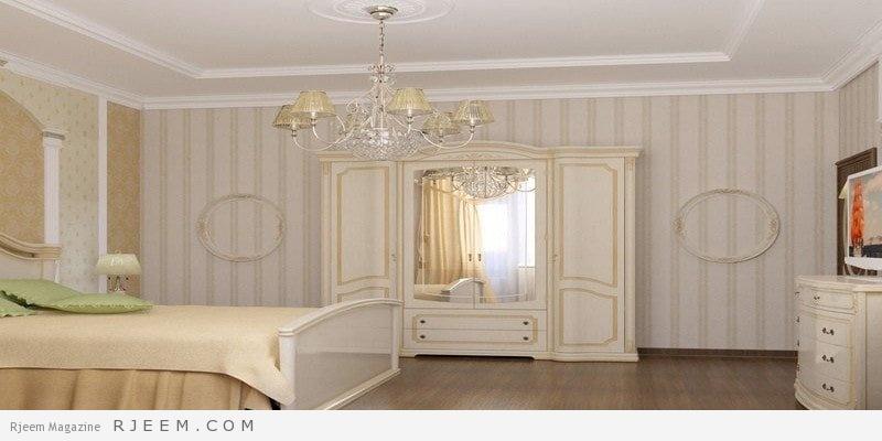 غرف نوم كلاسيك بيضاء كاملة