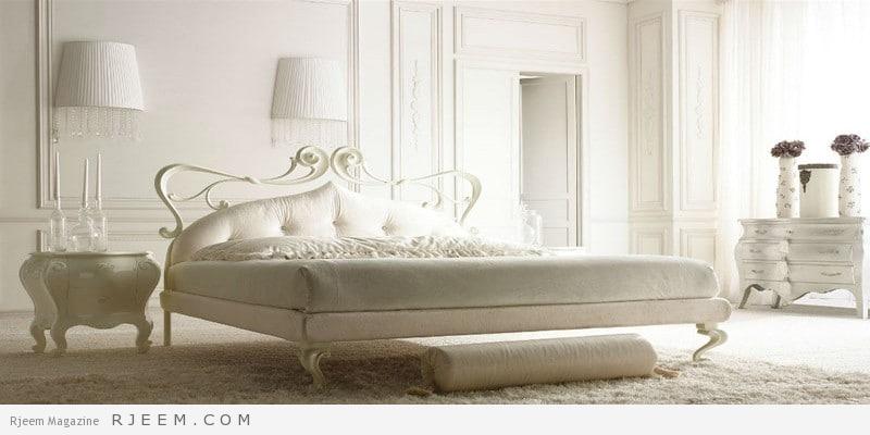 غرف نوم باللون الابيض كلاسيك