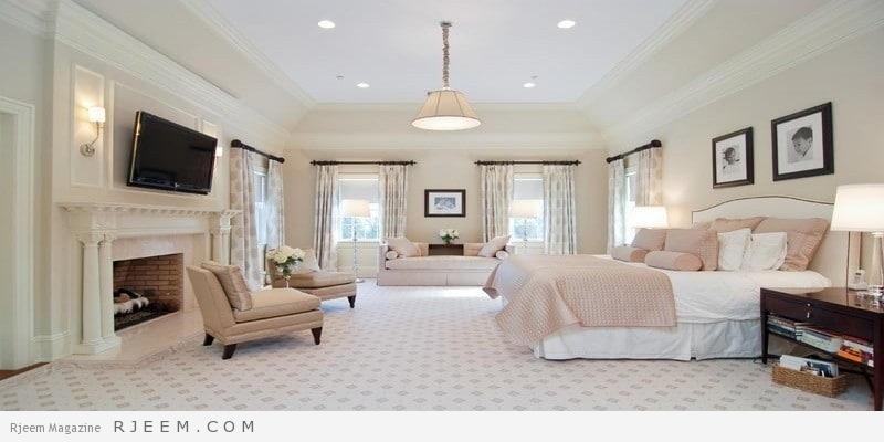 غرف نوم باللون الابيض فخمة