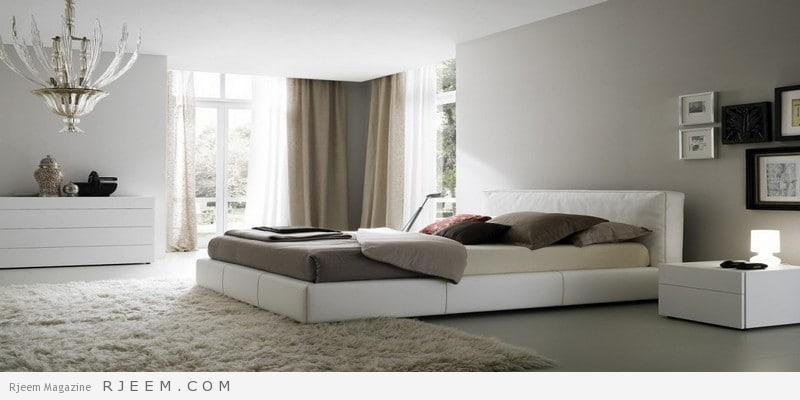 غرف نوم باللون الابيض هادئة