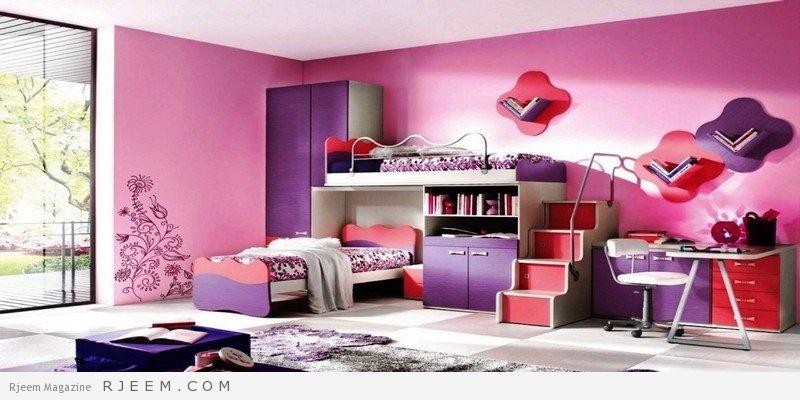 ديكورات غرف نوم بنات بألوان جذابة