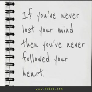 if you've never lost your mind then you've never followed your heart