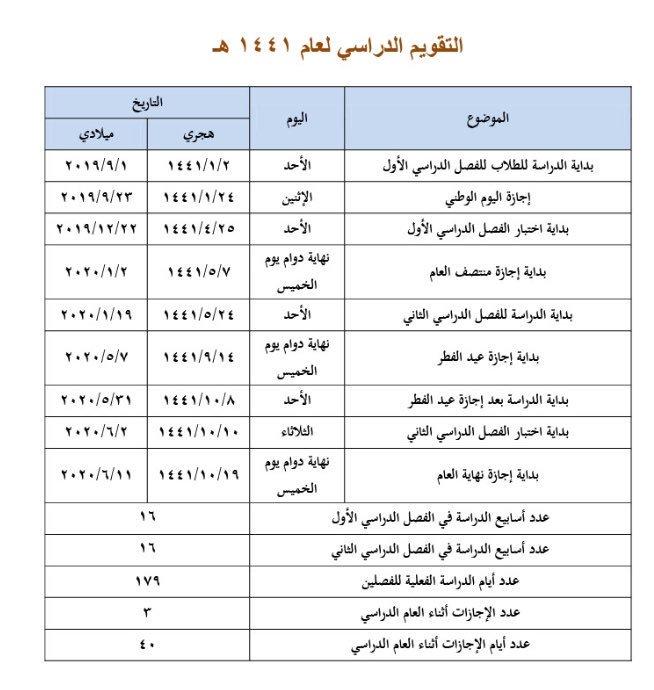 التقويم الدراسي 1441