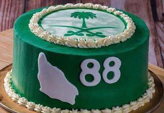 Photo of صور كيكة اليوم الوطني 88 , طريقة عمل كيك اليوم الوطني , وصفة لعمل تورتة خضراء