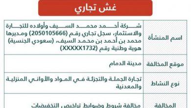 Photo of إعلان تشهير رسمي بشركة خالفت شروط وضوابط تراخيص التخفيضات في الدمام