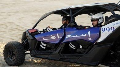 Photo of شرطة أبوظبي تنقذ مواطناً من أصحاب الهمم علقت دراجته في الرمال