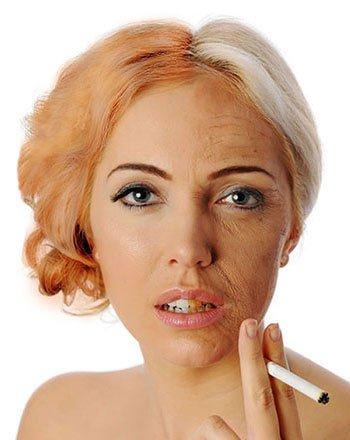 اثار التدخين على البشرة